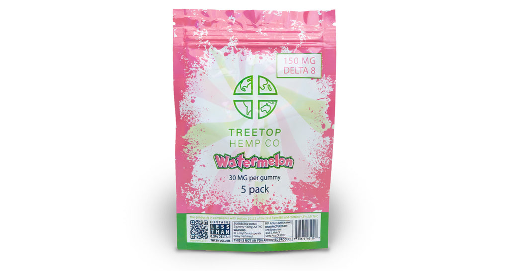Watermelon 5 pack D8 Gummies | Treetop Hemp Co. | URTH CBD