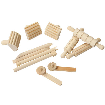 Natural wooden playdough tool set