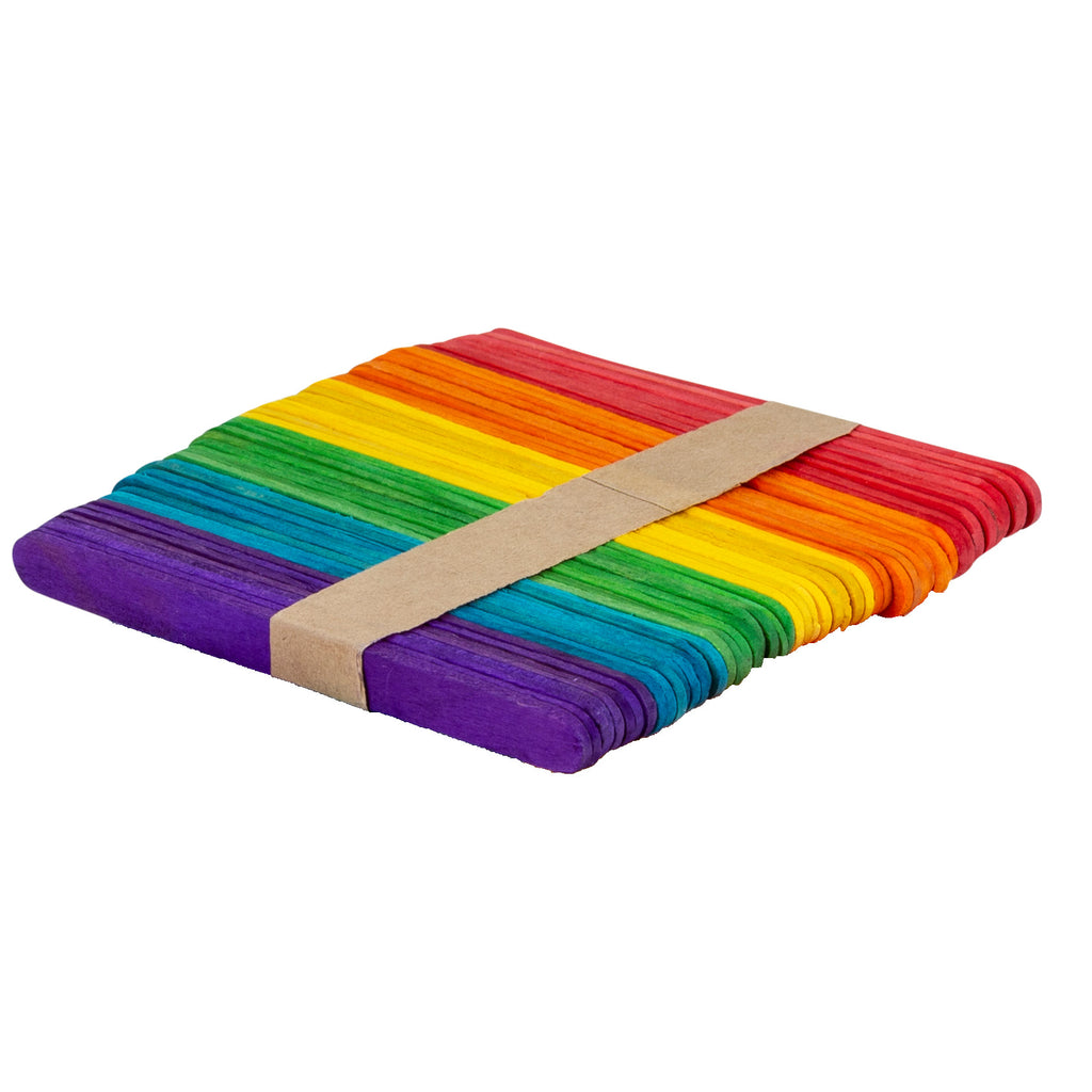 Coloured Wooden Craft Sticks - Set of 50