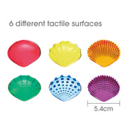 6 shells with different surfaces