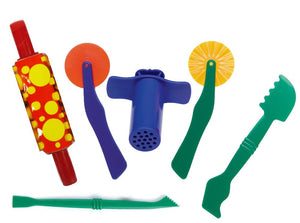 Playdough tools set including roller, cutters, and extruder.