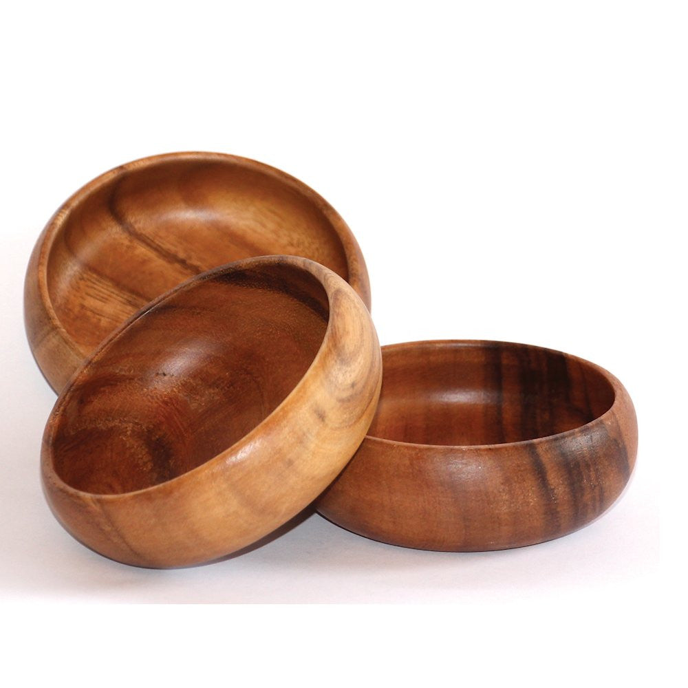 3 polished wooden bowls