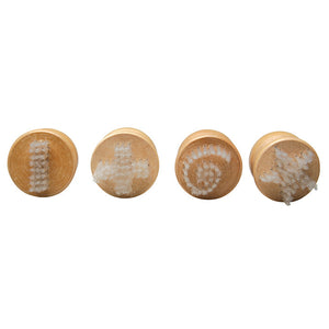 4 wooden brushes with different patterns