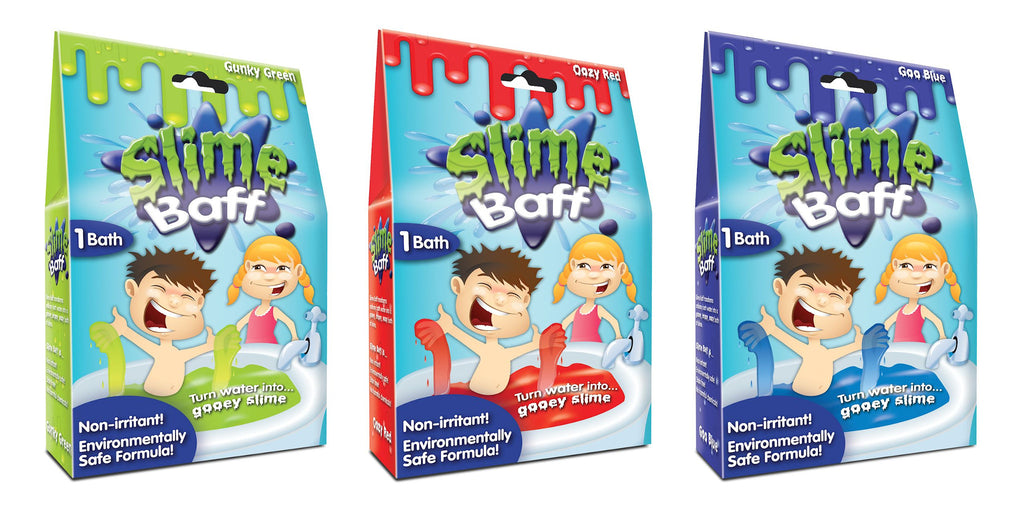 3 packets of slime baff in green, red, and blue