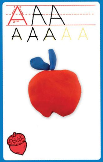 """A"" playdough mat with apple shape"