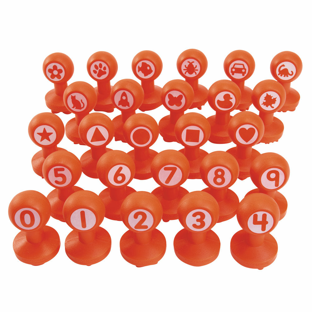 set of orange stampers