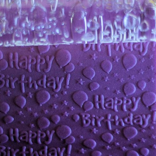 "Clear rolling pin engraved with ""Happy Birthday"" and balloons"