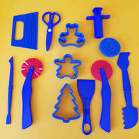 collection of blue playdough tools