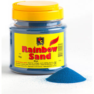Tub of blue-coloured play sand