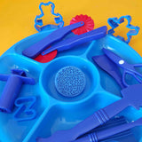 blue invitation to play tray with contents