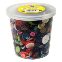 plastic buttons in a tub
