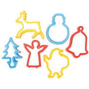 6 christmas cutters with christmas tree, reindeer and other designs