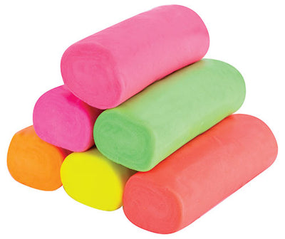 dough in 6 fluro colours