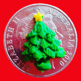 playdough Christmas tree on an Australian 20c coin