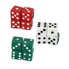 dice in red, green and white