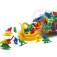 tub with plastic dinosaur counters