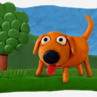 Dog picture made with Plasticine.