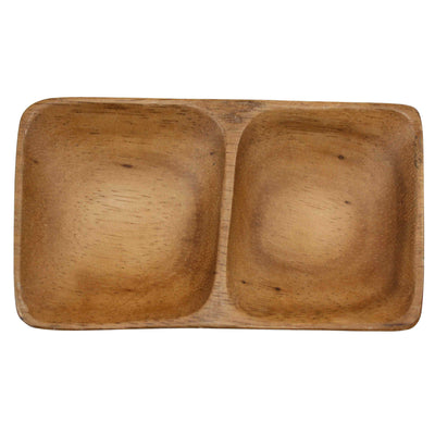 Acacia dish with 2 compartments