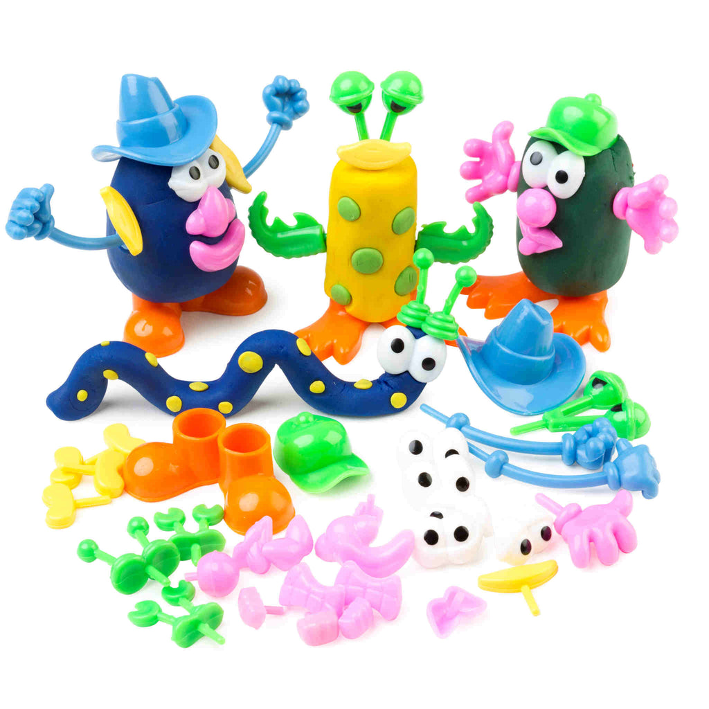 dough character pieces shown in use on playdough