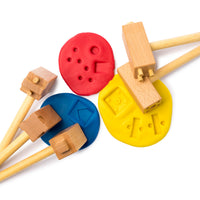 wooden clay hammers with playdough
