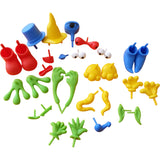 Collection of face and body pieces for playdough