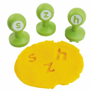s, z and h stampers with yellow dough