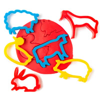 6 farm animal shaped playdough cutters