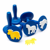 6 stampers with blue handles