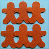6 felt gingerbread men
