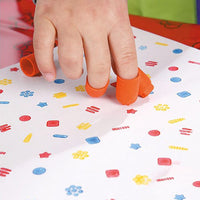 fingers stamping with finger tip printers. Spot and star patterns