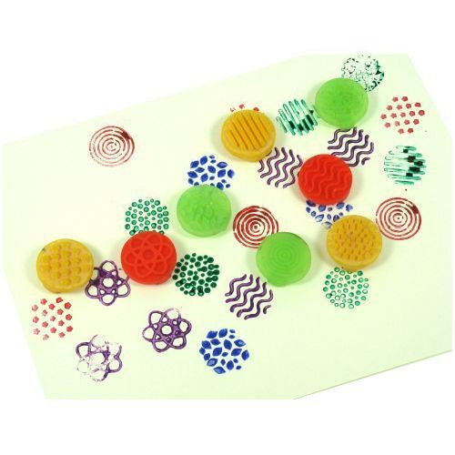 Finger stampers with ink or paint