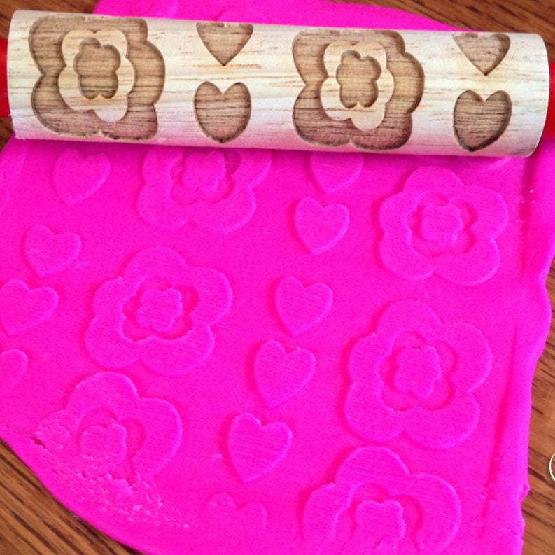playdough with rolling pin - flower pattern