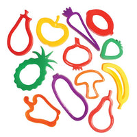 12 fruit and veg shaped cookie cutters