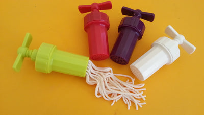 Garlic screws in 4 colours with playdough worms being extruded
