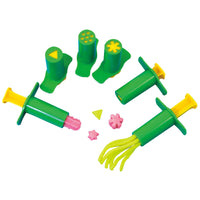 6 green plungers shown with dough
