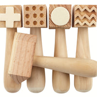 Patterned Wooden Dough Hammer - Accessories for dough and clay