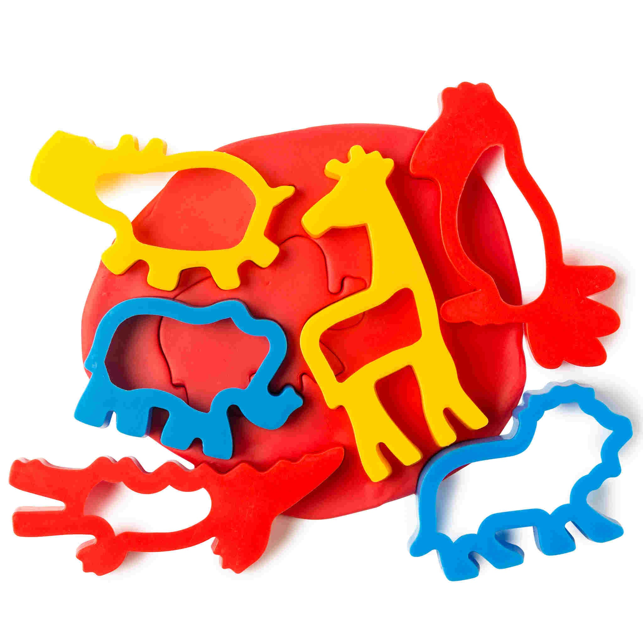 6 jungle animal shaped playdough cutters