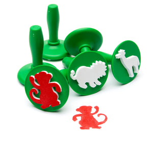 Jungle Animal stampers shown with red monkey