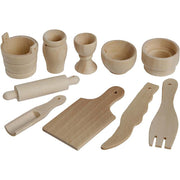 10 miniature wooden kitchen tools
