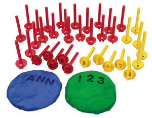 playdough shown with letter stampers