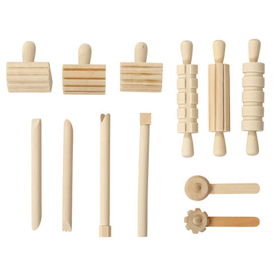 Set of 12 natural wooden playdough tools