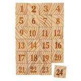 24 wooden tiles with numbers