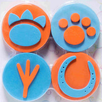Set of 4 printers with animal paw prints