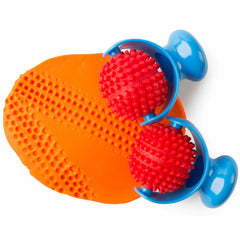 2 palm rollers shown in orange playdough