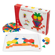 pattern blocks box shown with cards