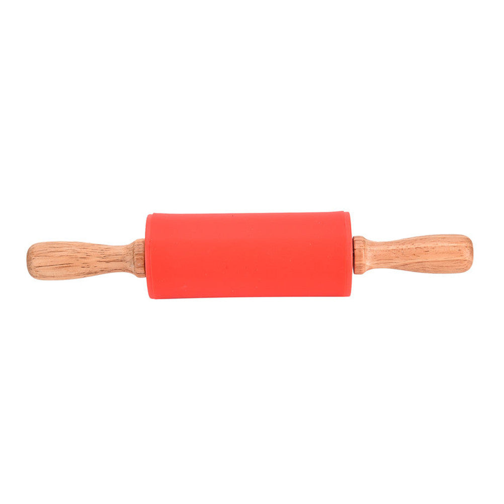 red silicone rolling pin with wooden handles
