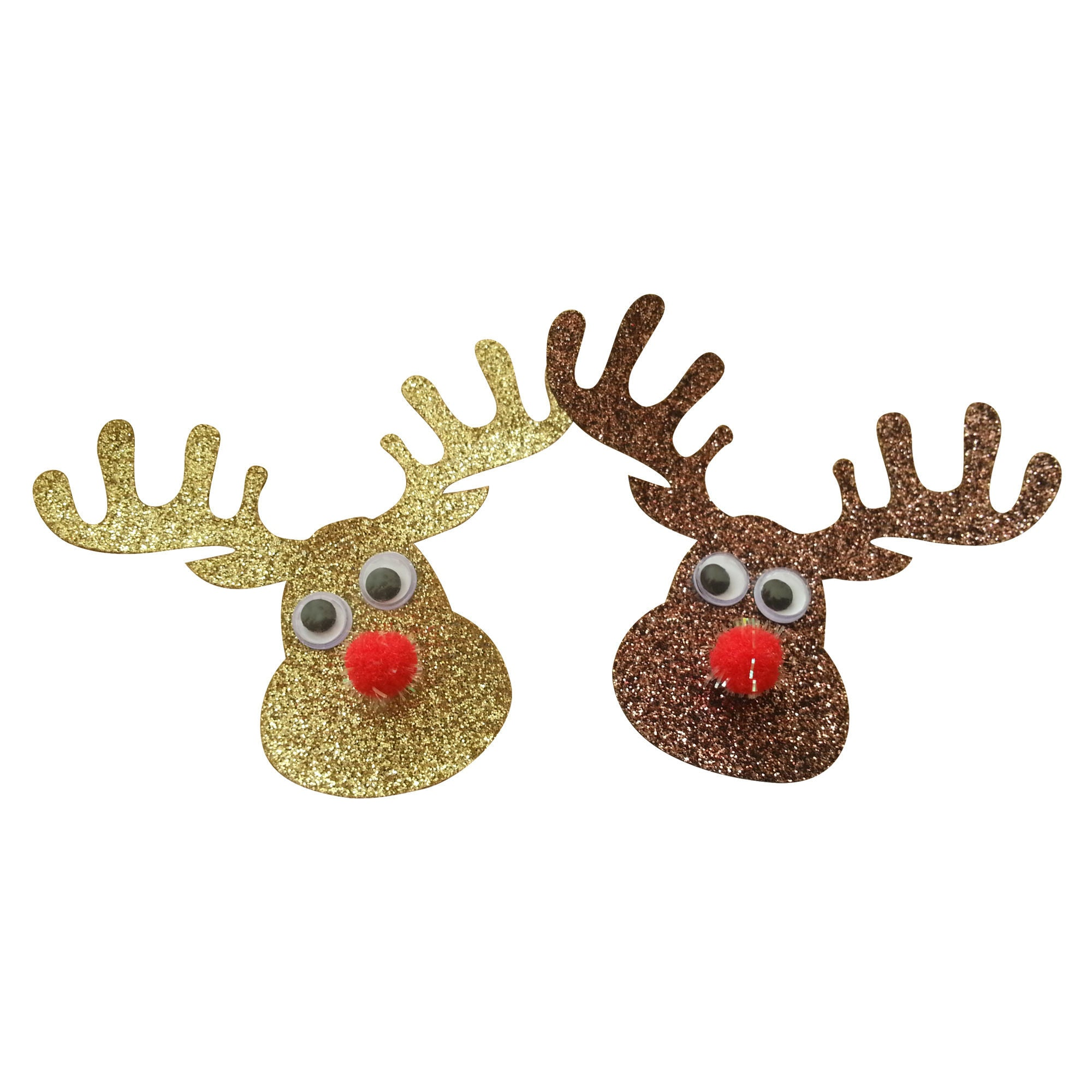 2 craft reindeer with pom pom noses