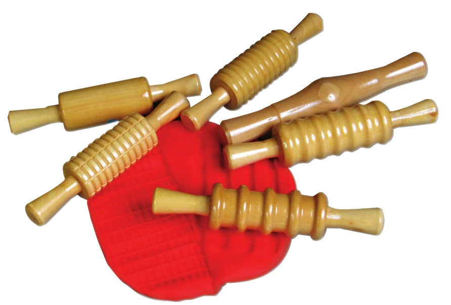 6 lacquered wooden rolling pins with red playdough