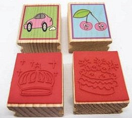 4 Wooden Stamps - Accessories for dough and clay