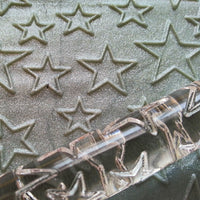 close up of pin and stars